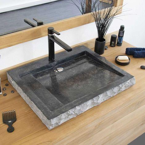 Vasque en Marbre Noir à poser, Oblik - Noir