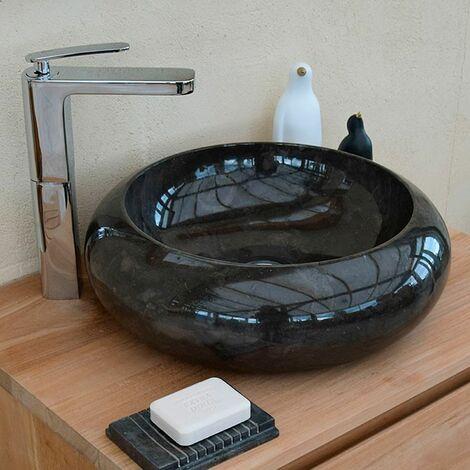 Vasque en Marbre Noir à poser, Luna - Noir