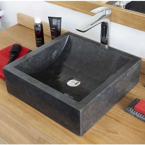 Vasque en Marbre Noir à poser, Kiara - Noir