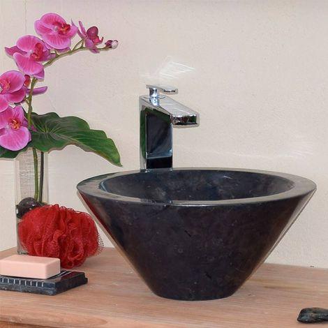 Vasque en Marbre Noir à poser, Koni - Noir