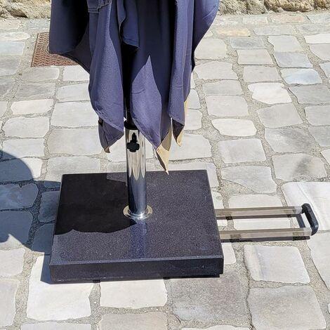 Pied de parasol à roulettes en granit - Gris