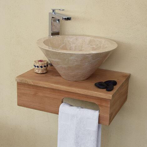 Meuble sous-vasque suspendu en teck pour lave-mains, Lazzeri - Naturel