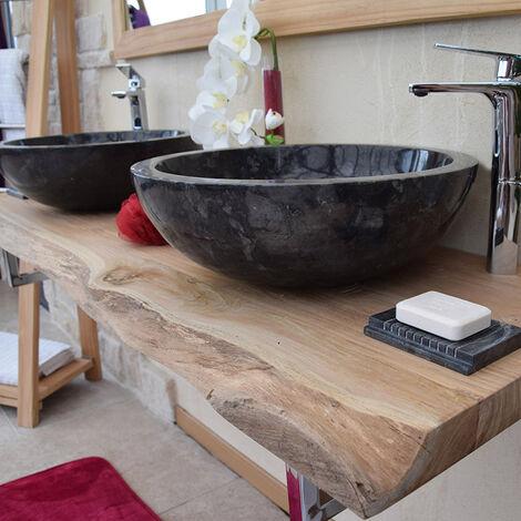 Plan pour vasques en teck massif 150 cm, forme libre - Shark - Naturel