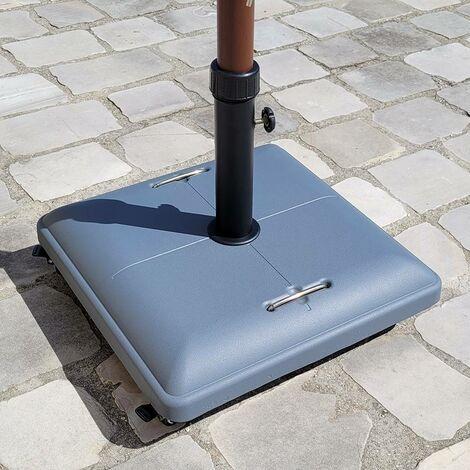 Pied de parasol carré avec roulettes - Gris