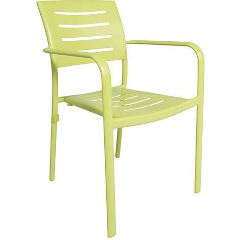 Chaise avec accoudoirs en aluminium vert anis Brisbane - Vert anis