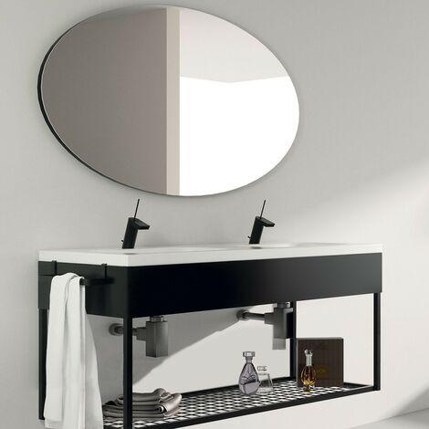 Meuble salle de bain suspendu 120 cm + double vasque céramique, Metal - Noir