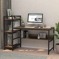 Dripex Bureau en bois industriel m¨¦tal ¨¤ 3 niveaux, table PC Table de bureau - 136x60x111cm