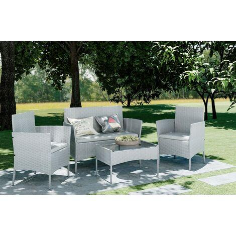 Grey 4 Piece Rattan garden furniture Set