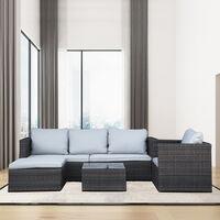5PC Rattan Modular Corner Sofa Set