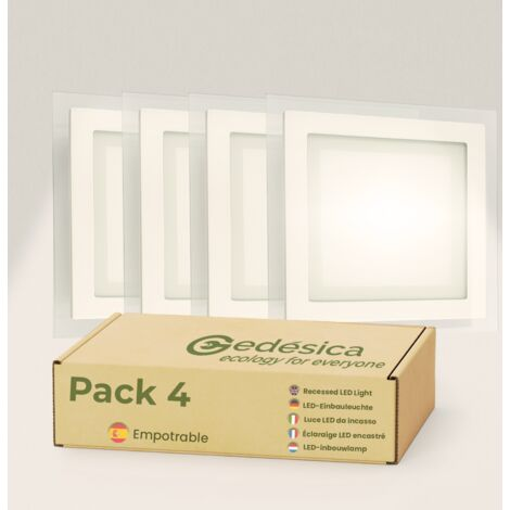 Pack X4 Downlight LED 18W Cristal Cuadrado Blanco Empotrable