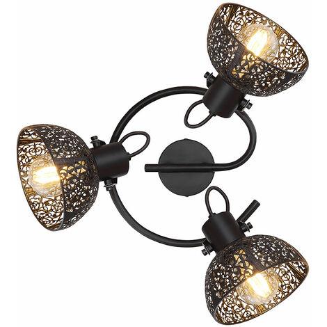 Lámpara de techo retro negro salón comedor iluminación decoración lámpara de punto giratoria  Globo 54016-3