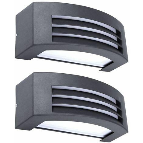 2x luces de pared LED para exteriores terrazas parcela focos lámparas ARRIBA ABAJO gris