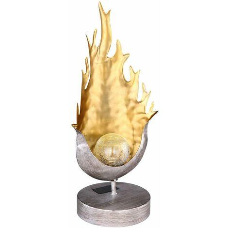 Lámpara de pie de mesa solar LED llama diseño craquelado bola de cristal luz jardín iluminación exterior  Globo 33529