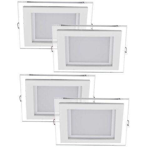 Juego de 4 puntos empotradas LED salón plata focos cuadrados