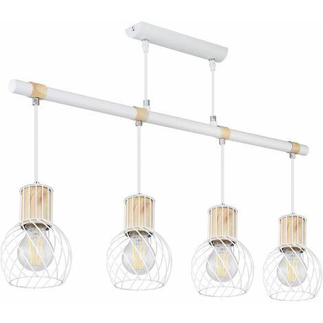 Lámpara colgante vintage diseño de jaula colgante madera blanca aspecto sala de estar iluminación lámpara de techo  Globo 54012-4H