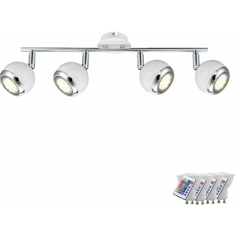 Lámpara de techo luz de tira puntos remotos regulables se mueven en conjunto incl. RGB lámparas LED