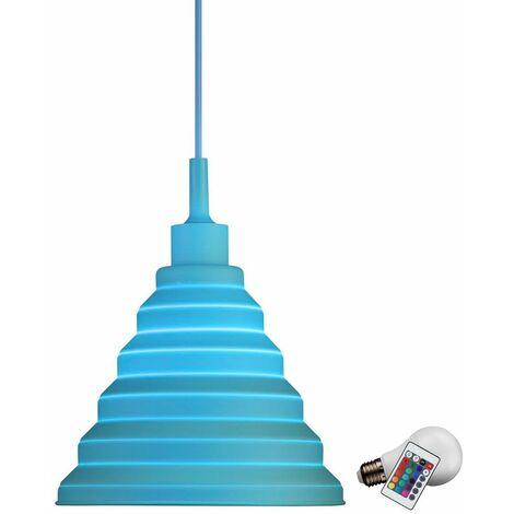 Lámpara colgante azul techo iluminación colgante dimmer conmuta el sistema incluyendo las lámparas LED RGB