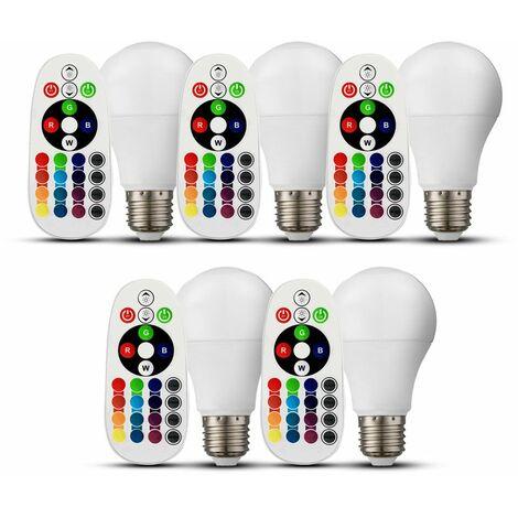 Conjunto de 5 RGB LED bombillas de bajo consumo E27 control remoto dimmer 4000 Kelvin