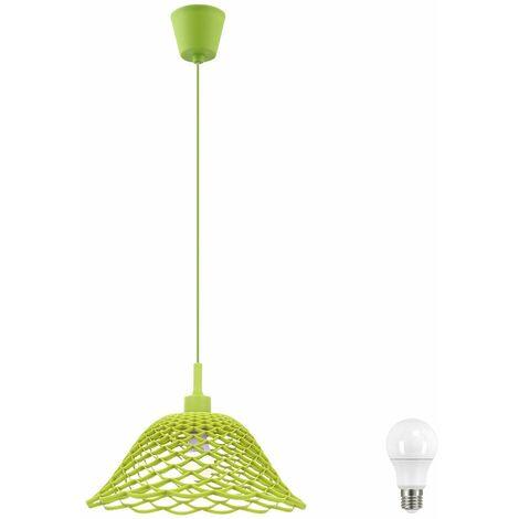 Péndulo Lámpara de techo Sala de estar Malla Colgada Iluminación Patrón verde Conjunto Incluye bombillas LED