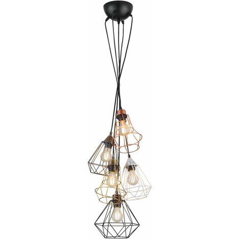 Lámpara colgante vintage de techo de jaula de filamento colgante de luz multicolor en un conjunto que incluye iluminante LED
