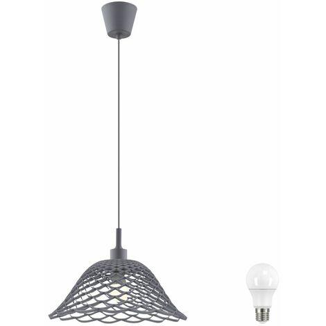 Techo colgante colgando iluminación de la lámpara pasillo sala de estar trenzado gris en el kit. Incluye bombillas LED