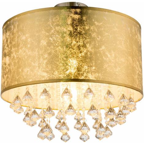 Lámpara de techo habitación de invitados habitación de tela pantalla de cristal hoja de luz  -Diseño de oro en conjunto con bombillas LED