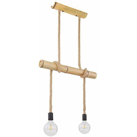 Lámpara colgante de techo inteligente, lámpara colgante de cuerda de cáñamo de bambú regulable, aplicación de control de teléfono móvil en un conjunto que incluye bombillas LED RGB