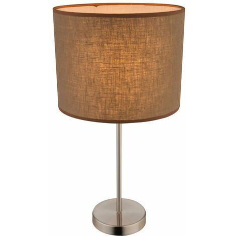 Lámpara de mesa lámpara de mesa de estudio Beistell interruptor de sombra textil marrón E27 Globo 15186T1