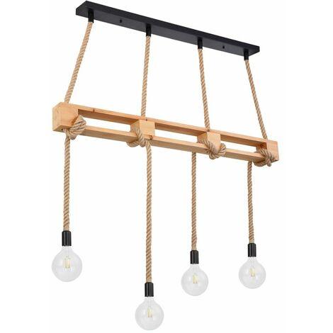 Lámpara colgante de techo de cuerda de cáñamo inteligente Lámpara colgante de madera Alexa regulable natural en un conjunto con iluminación LED RGB