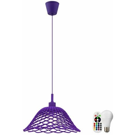 lámparas colgantes lámpara pasillo colgante de techo de la lámpara trenza púrpura equipo de control remoto incl. RGB LED