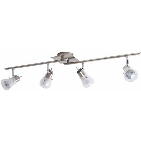 Lámpara de vigas de techo living comedor lámpara spot spotlight plateado movible en un conjunto con iluminación LED