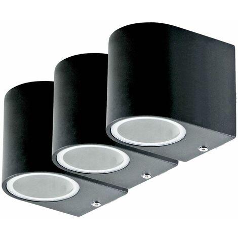 Juego de 3 focos empotrables LED para fachadas, luces para puertas de casas, punto de pared, lámparas para exteriores, aluminio, negro