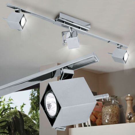 Foco de techo Foco Lámpara de iluminación movible Acero Chrome Set de cubo incl. Bombillas LED