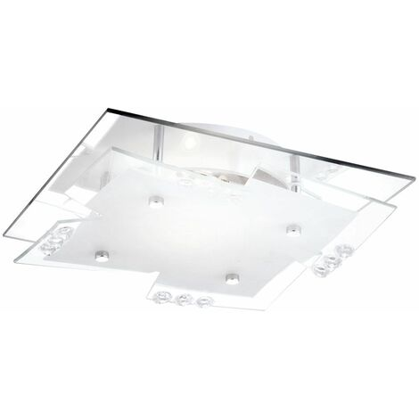 luz de techo de vidrio de cromo satinado reflejado salón E27 Globo 48074