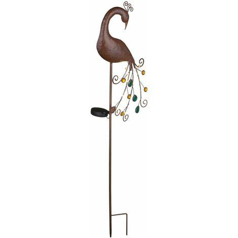 LED Pincho solar Enchufe Lámpara Sendero de jardín Iluminación de remolacha Lámpara de pavo real Color bronce  Globo 33019