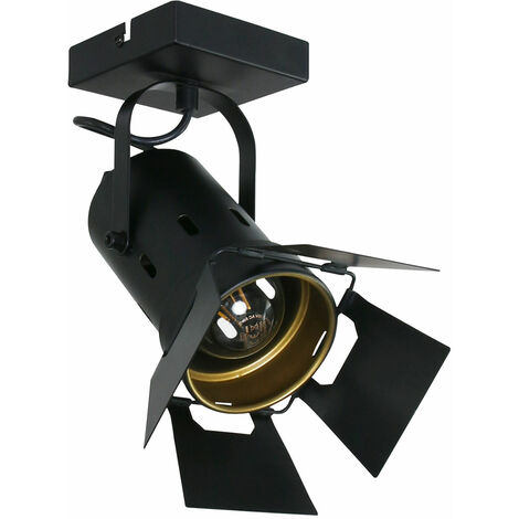 VINTAGE plafón plafón estudio spotlight lámpara negro  dorado punto ajustable  7996ZW