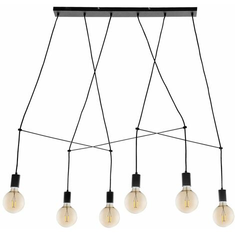 Lámpara colgante de techo retro industrial salón comedor iluminación lámpara colgante negro