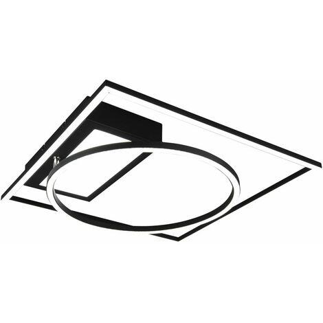 Lámpara de techo negra Lámpara de techo LED con función de memoria, regulable con control remoto, CCT ajustable, 6500 luz del día, 33 vatios 4600 lúmenes 2700  -6500 Kelvin, An x P 86x64 cm