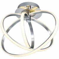 Lámpara de techo LED con diseño de anillo cromado, lámpara de iluminación para sala de estar ajustable, vidrio regulable, blanco