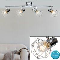 Foco de techo LED Foco ajustable Barra para sala de estar Diseño de jaula Lámpara de cromo  Globo 54802-4