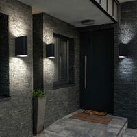 Luces exteriores puerta delantera Up Down aplique exterior pared negra luz exterior terraza aluminio, cambio de color regulable con mando a distancia, 2x LED RGB 3,5W 290lm 3000K, An x Al 6,5x14,5 cm, juego de 3