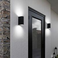 Aplique de pared exterior luz exterior Up & Down negro luz de fachada aluminio exterior luces casa, 2x GU10, An x Al 6,5x14,5 cm, juego de 2