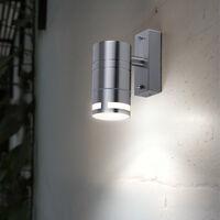 Conjunto de 2 pared de la casa de diseño abajo luces del balcón de plata luz redonda de acero inoxidable vidrio lámparas GU10