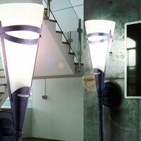Lámpara de pared antigua estilo de casa de campo que cambia el color de la antorcha de vidrio en un conjunto que incluye un iluminante LED RGB