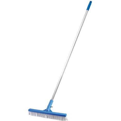 SIQUA Cepillo con pértiga Fija para Piscina, indicado para la Limpieza de Paredes, Azulejos y Suelos. Cepillo piscina fondo de 26Cm con Pertiga Aluminio 1,3M.