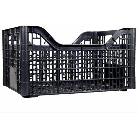 Cassetta multiuso per ortofrutta per agricoltura forata in plastica nera *** dimensioni 380 gr 30x40x20,5 cm - confezione 10