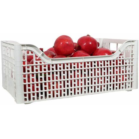 Cassetta multiuso per ortofrutta per agricoltura forata in plastica bianca *** dimensioni 30x40x13,5 cm - confezione 12