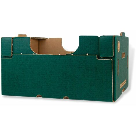 Cassetta in cartone plaform colore verde multiuso per ortofrutta per agricoltura *** dimensioni 30x40x20,5 cm - confezione 6