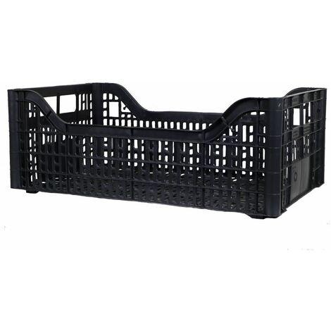 Cassetta multiuso per ortofrutta per agricoltura forata in plastica nera *** dimensioni 368 gr 30x50x15,5 cm - confezione 10