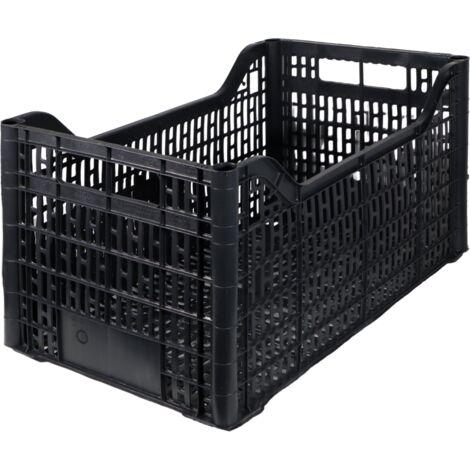 Cassetta multiuso per ortofrutta per agricoltura forata in plastica nera *** dimensioni 570 gr 30x50x26 cm - confezione 8